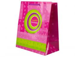Wholesale Pink And Green Birthday Medium Gift Bag